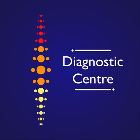 Spine diagnostic center on blue background Vektorové ilustrace