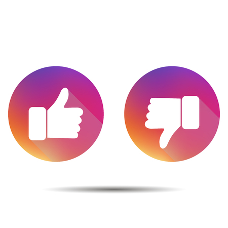 Thumbs up, thumbs down  on a white background with shadow