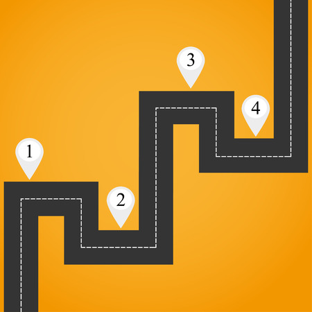 curve road: Direction road, curve road, highway road.  Highway with markings on a yellow background Illustration