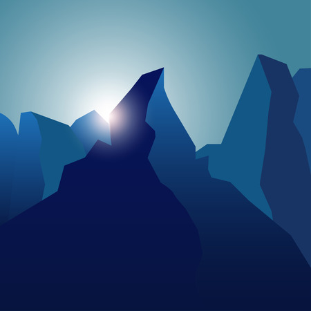 peaks: Realistic high peaks with blue gradients and lens flare.  Mountain landscape background with sunbeam
