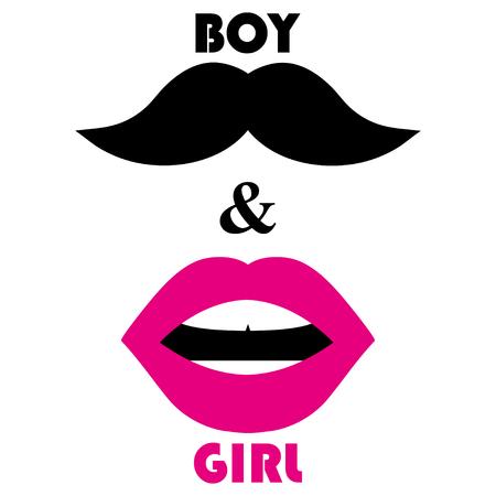 Lèvres roses et une moustache noire. Symboles d'homme et de femme sur fond blanc