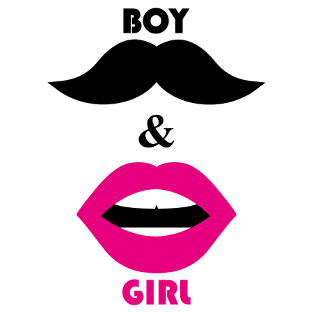 Pink lips and a black mustache.  Man and woman symbols on a white background Illustration