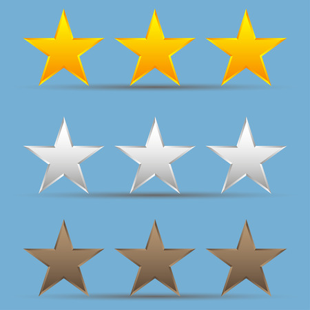 first rate: Set of gold, bronze, silver stars.  Set of star winners Illustration