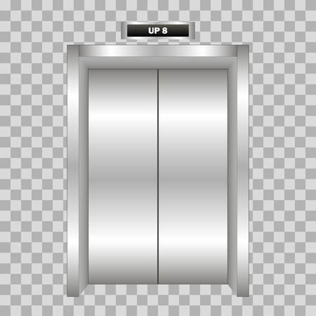 metal doors: Closed metal office building elevator doors realistic isolated  on plaid background