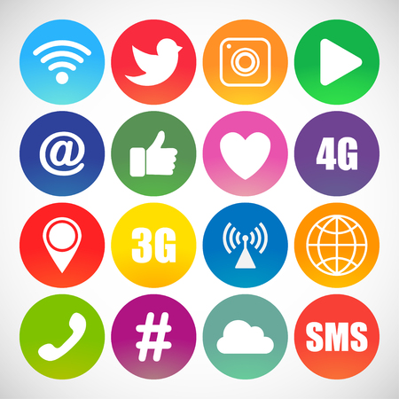 Set of social networking icons.  Web design flat icons isolated on white background 矢量图像