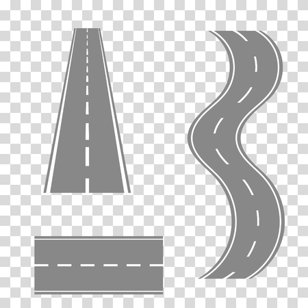 Set of curved road or  highway with markings
