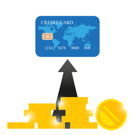 transferred: Credit card and gold coins.  Real money is transferred to credit card Illustration