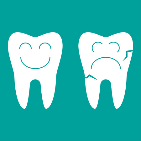 One good tooth, the second bad.  Teeth isolated on turquoise background Illustration