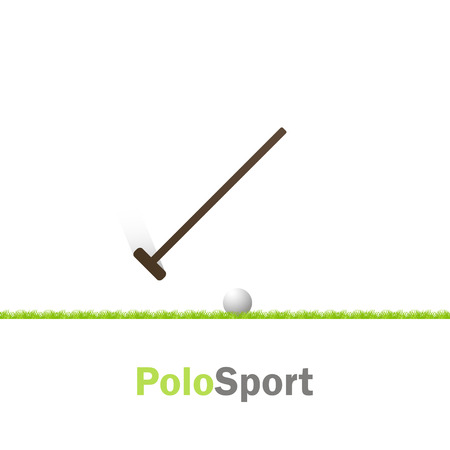 polo sport: Polo sport.  Putter and ball on grass with shadow Illustration