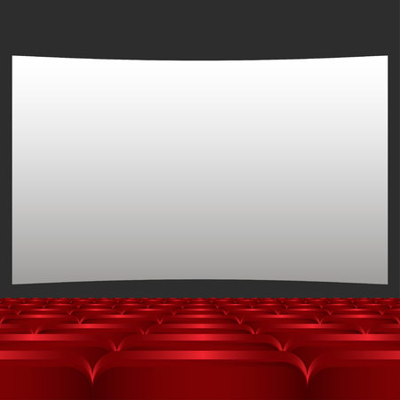 theater seats: Rows of red cinema or theater seats in front of white blank screen. Red chairs or chairs in the cinema  vector illustration Illustration