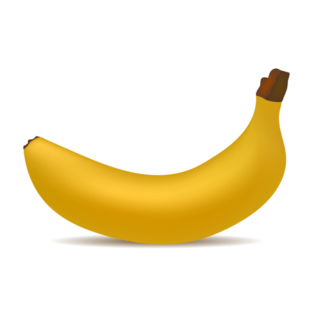 Realistic yellow banana with shadow  on a white background vector illustration