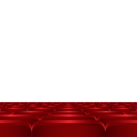 theater seats: Rows of red cinema or theater seats.  Red chairs or chairs in the cinema vector illustration