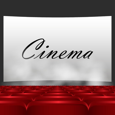 theater seats: Rows of red cinema or theater seats in front of white blank screen. Red chairs or chairs in the cinema.  In the text of a movie screen, below the smoke comes vector illustration