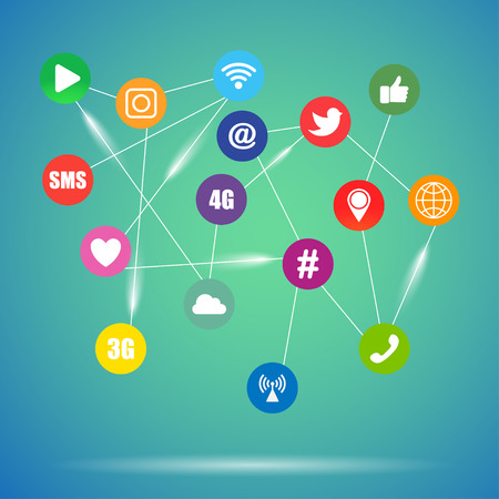 Icons for Social Network. Related social signs  vector illustration