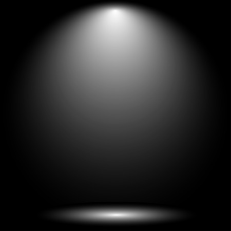 Lantern illuminates round scene black background.  White lamp on black background vector illustration