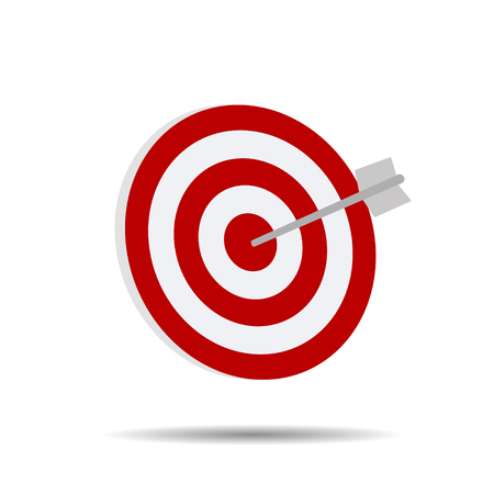 Direct hit on target arrow  on a white background vector illustration Illustration