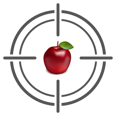 realictic: Abstract target icon with apple. Target icon Image. Flat target icon. Target icon goal vector illustration