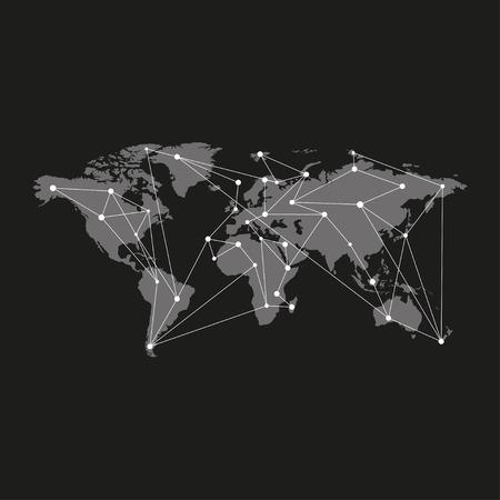 similar: Blank grey similar world map isolated on black background. Monochrome world map template for website, design, infographics. Flat earth map vector illustration