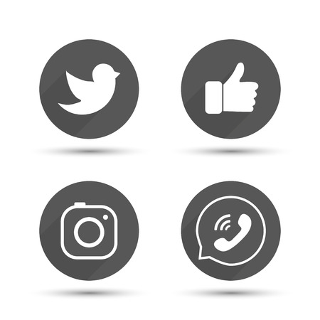 like hand: Flat designed vector icons of hipster photo camera, like hand symbol, thumbs up, messenger bird and telephone receiver for social media, interfaces, websites vector illustration