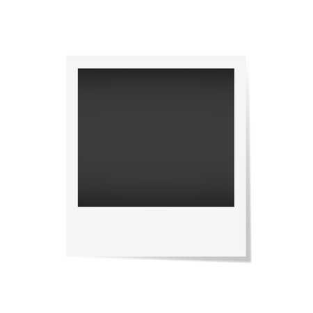 plastic backdrop: Vector ilustration photo frame. Realistic paper photograph isolated on white background with shadow