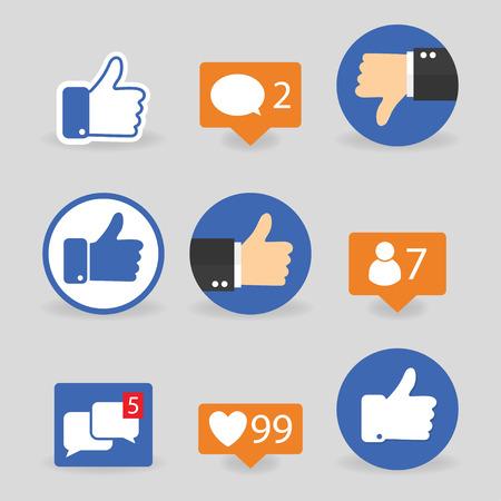Stel duim omhoog de pictogrammen omlaag, zoals pictogrammen op een grijze achtergrond Stock Illustratie