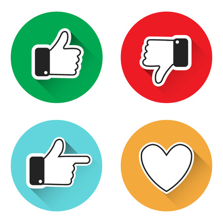 Set of thumbs up icons thumbs down, like icons on a grey background. Thumbs up and down, heart signs on colorful round flat vector icons. Simple buttons with user feedback for social network, mobile app or web site design Иллюстрация