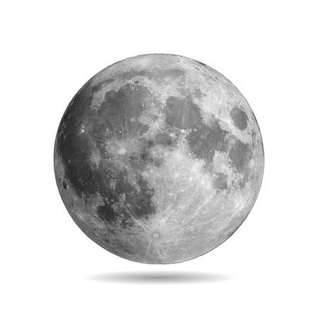 Luna llena realista con el vector eps10 de la sombra. Ilustración vectorial Elementos de este vector proporcionados por la NASA