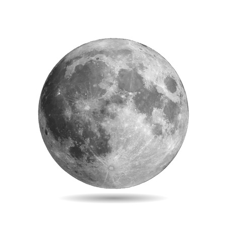 Realistic full moon with shadow vector eps10. Vector illustration. Elements of this vector furnished by NASA Illustration