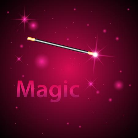 magician wand: Magic wand vector background. Miracle magician wand