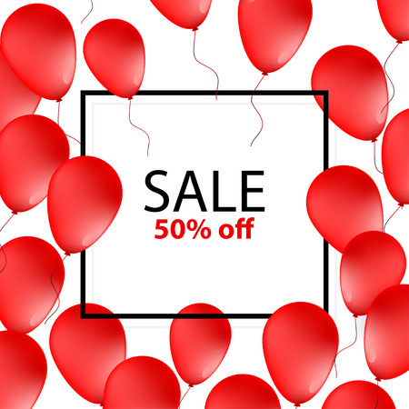 Sale Poster, banner with red balloons on white background with frame vector illustration