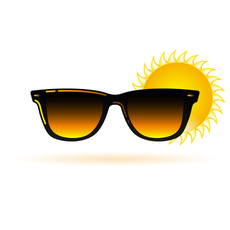 Sunglasses icon with sun vector illustration in modern style