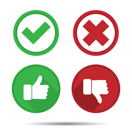 Thumbs up and Thumbs down, Yes, No, icons Vectores