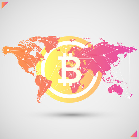 Bitcoin with global spread throughout the earth