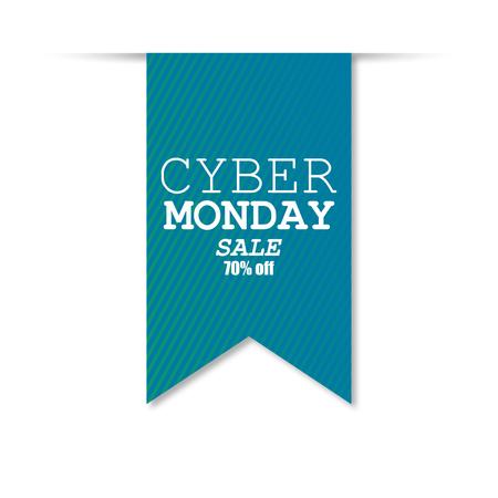 Cyber Monday Sale Banner, Label Design, Background. Vector illustration