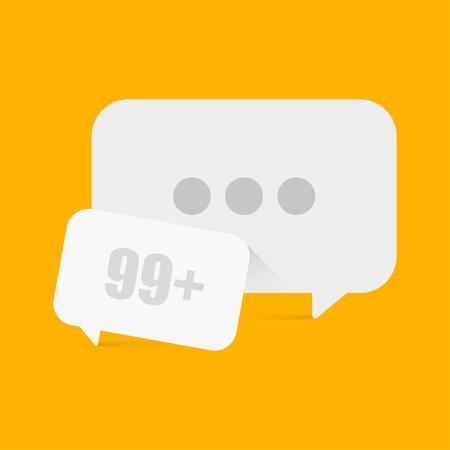 소셜 네트워크의 노란색 배경에 두 개의 드롭 다운 메시지 프레임 일러스트