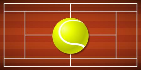 Tennis field with a big tennis ball Illustration