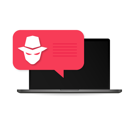 Computer laptop virus fraud or spam notification. Malware concept, spam data, fraud internet error Иллюстрация