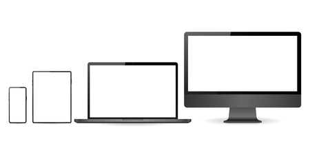 Mockup set of realistic monitor, laptop, tablet and phone
