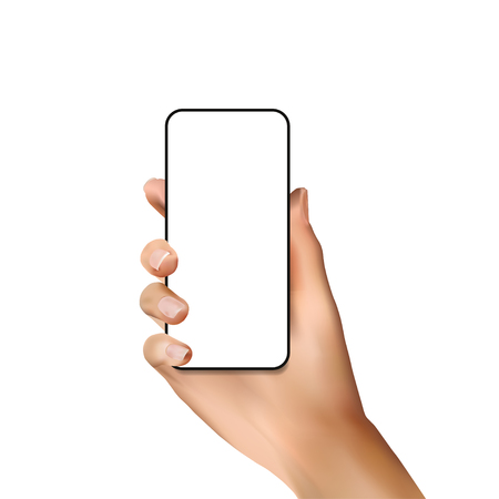 Close up phone in girls realistic hand