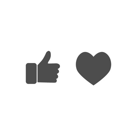 Thumb up and heart icons in flat style