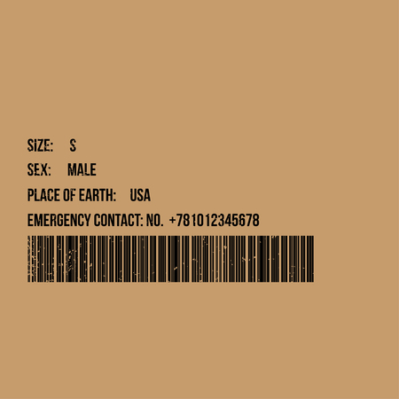 Realistic barcode icon with size, sex, place of earth, emergency contact icons. Barcode vector illustration 일러스트