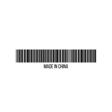 Realistic barcode icon made in China. Barcode vector illustration