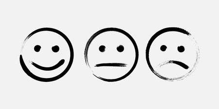 Abstract funny flat style smile emoticon reaction icon set drawn by brushes Stok Fotoğraf - 121933611
