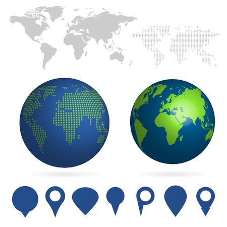 Big set of maps and globes vector illustration 일러스트