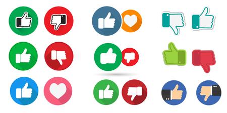 Big set thumb up and thumb down. Social media collection