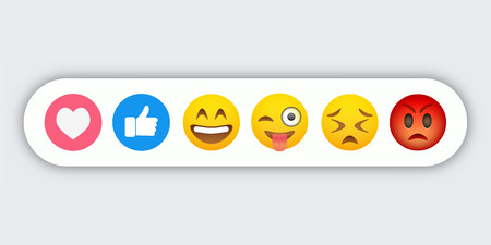 Set of abstract funny flat style emoticon reaction color icons. Social expression collection