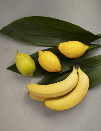 Lemons and bananas isolated on green background