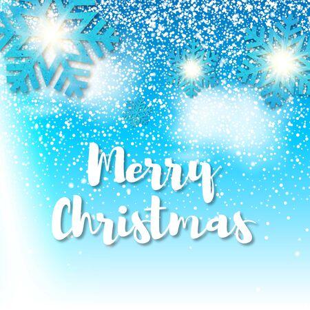 Sin fisuras realista caída de nieve y copos de nieve Feliz Navidad. Aislado sobre fondo azul - ilustración vectorial de stock