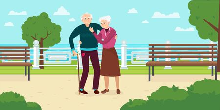 Happy Grandparents Day. Grandparents walk in the park vector
