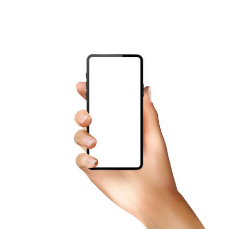 Realistic modern phone with realistic hand and blank screen on a white background Illustration